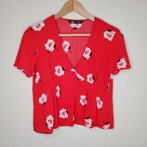Zara Floral Short Sleeve V-neck Button Blouse